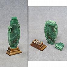 CHINESE CARVED JADEITE FLATTENED VASE WITH COVER