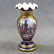 BOHEMIAN COBALT CASE GLASS GILT AND ENAMEL VASE