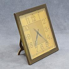 VINTAGE TIFFANY BRASS DESK CLOCK