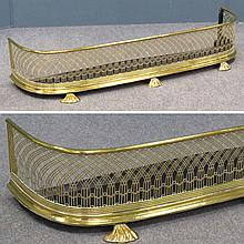REGENCY BRASS FRETWORK FIREPLACE FENDER