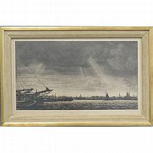 DUTCH SCHOOL (20TH CENTURY), ETCHING, HARBOR VIEW