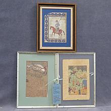 LOT (3) PERSIAN MINIATURE PAINTINGS