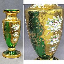 VENETIAN GILT AND ENAMEL GREEN CRYSTAL VASE