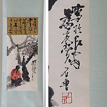CHINESE WATERCOLOR SCROLL PAINTING, FLOWERING TREE