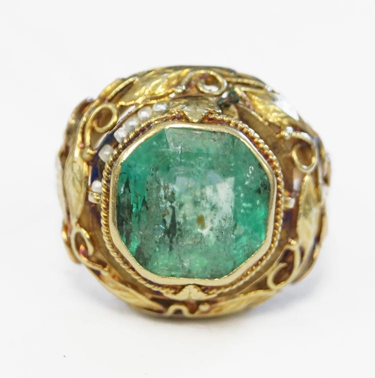 14k yellow gold and cushion square cut emerald ring emerald