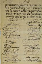 An Extraordinary Item - Petition with Many Signatures of the Jews of Cairo Against the Dismissal of their Beloved Rabbi, Rabbi Menachem Mendel Baharan HaCohen - Cairo, 1905