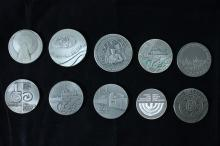 10 Silver Medals - Israel Coins and Medals Corp - Most of Them from the 1970's