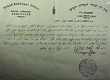 Two Documents Signed by Rabbi Zvi Pesach Frank and the Rabbis of Jerusalem