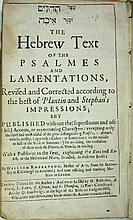 Psalms - London, 1656 - The First Book of Pslams that was Printed in England - the First Year that Jews Lived in England - an Extremely Rare Copy