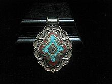 An Antique Chinese Qing Precious Stones Inlaid Silver Pendant