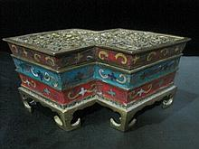An Antique Chinese Qing Cloisonne Bronze Burner