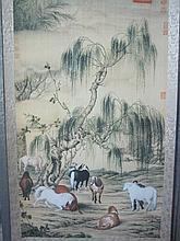 A Chinese Qing Scroll Painting of Eight Horses