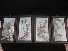 A Set of 4 Chinese Republic Period Famille Rose Porcelain Plaques