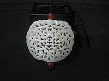 A Fine Carved Chinese Qing He Tian White Jade Pendant
