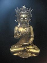An Antique Chinese Ming Gold Gilted Bronze Buddha