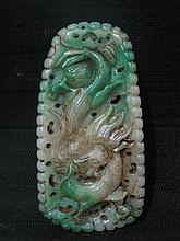An Antique Chinese Qing He Tian Jadite Dragon Plaque