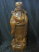A Large Chinese Qing Huan Yang Wood Wealth God