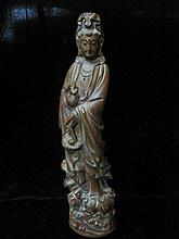 A Fine Carved Chinese Qing Huan Yang Wood Guanyin