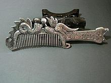 A Chinese Republic Period Dragon and Phoenix Silver Comb