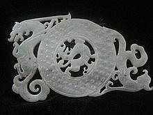 An Antique Chinese Tang Dynasty He Tian Jade Dragon Bi