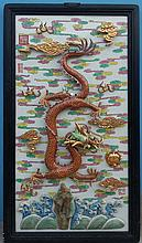 A Chinese Qing Gilted Famiile Rose Dragon Porcelain Plaque