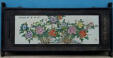 A Chinese Republic Period Famille Rose Flower Porcelain Plaque