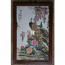 A Chinese Republic Period Famille Rose FLower and Bird Porcelain Plaque