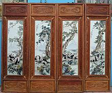 A Set of 4 Chinese Republic Period Famille Rose Animal Porcelain Plaques