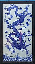 A Chinese Qing Blue and White Dragon Porcelain Plaque