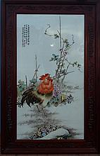 A Chinese Republic Period Famille Rose Animal Porcelain Plaque