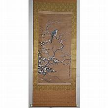 A Chinese Qing Scroll of Silk Painting of Bird