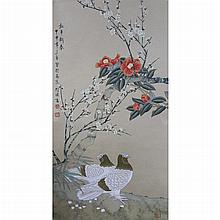 A Chinese Scroll Painting of Pigeon and Flower