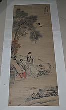 A Chinese Qing Scroll Painting of Figures