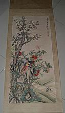 A Chinese Qing Scroll Painting of Flower and Bird