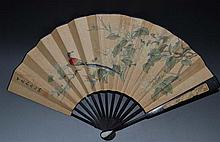 A Chinese Qing Fan Painting of Flower and Bird