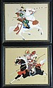 Two Framed Japanese Paintings on Silk of Warriors on Horseback