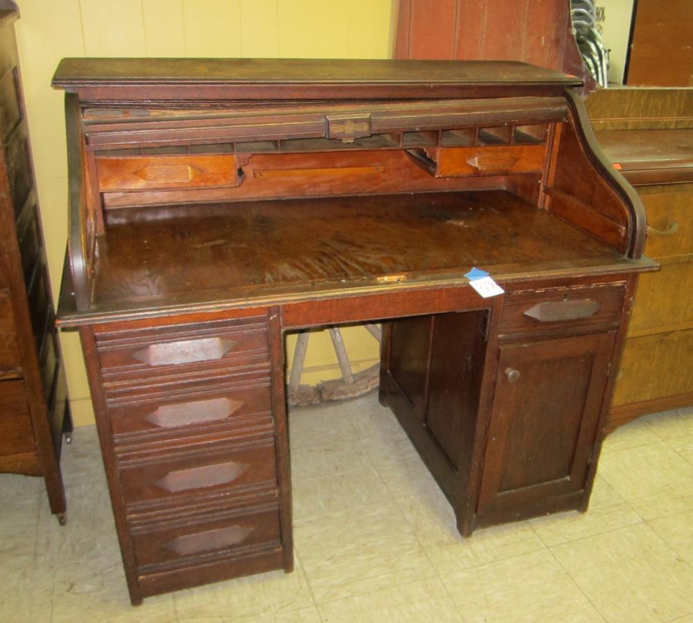 Antique Oak Roll Top Desk W Hidden Compartment
