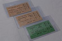 Three Early Unused Boxing Tickets