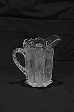 Clear Glass Thistle Pattern Water Pitcher
