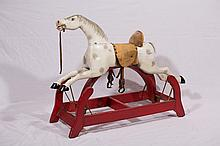 Good Wooden Rocking Horse on Red Painted Frame