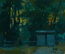 "Sergei Bongart, (1918-1985, Santa Monica, CA), Small structure in a nocturnal landscape, Oil on canvas, 30.25"" H x 36.25"" W"