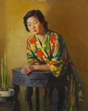Robert Alexander Graham, (1873-1946, San Francisco, CA), A portrait of a Japanese woman wearing a kimono, Oil on canvas laid to waxed c