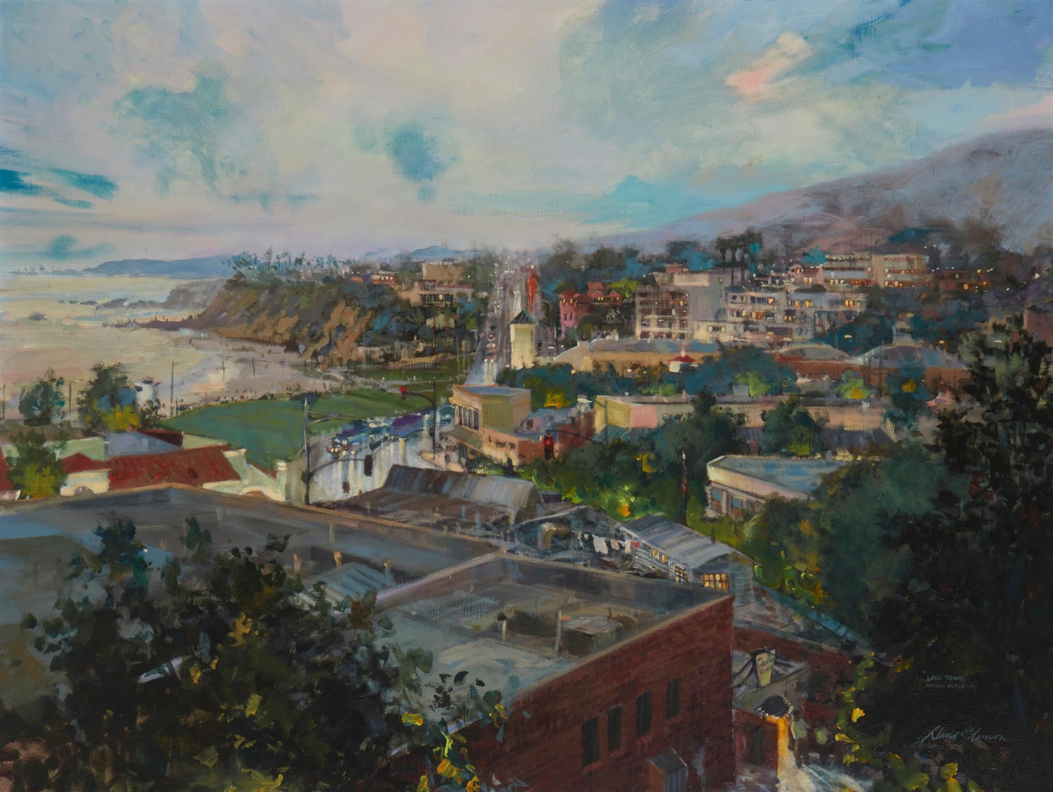 "David Solomon, (b. 1943, California), ""Lag Town,"" 1981-82, Oil on canvas, 30"" H x 40"" W"