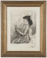 Portrait of Sarah Bernhardt, drypoint etching