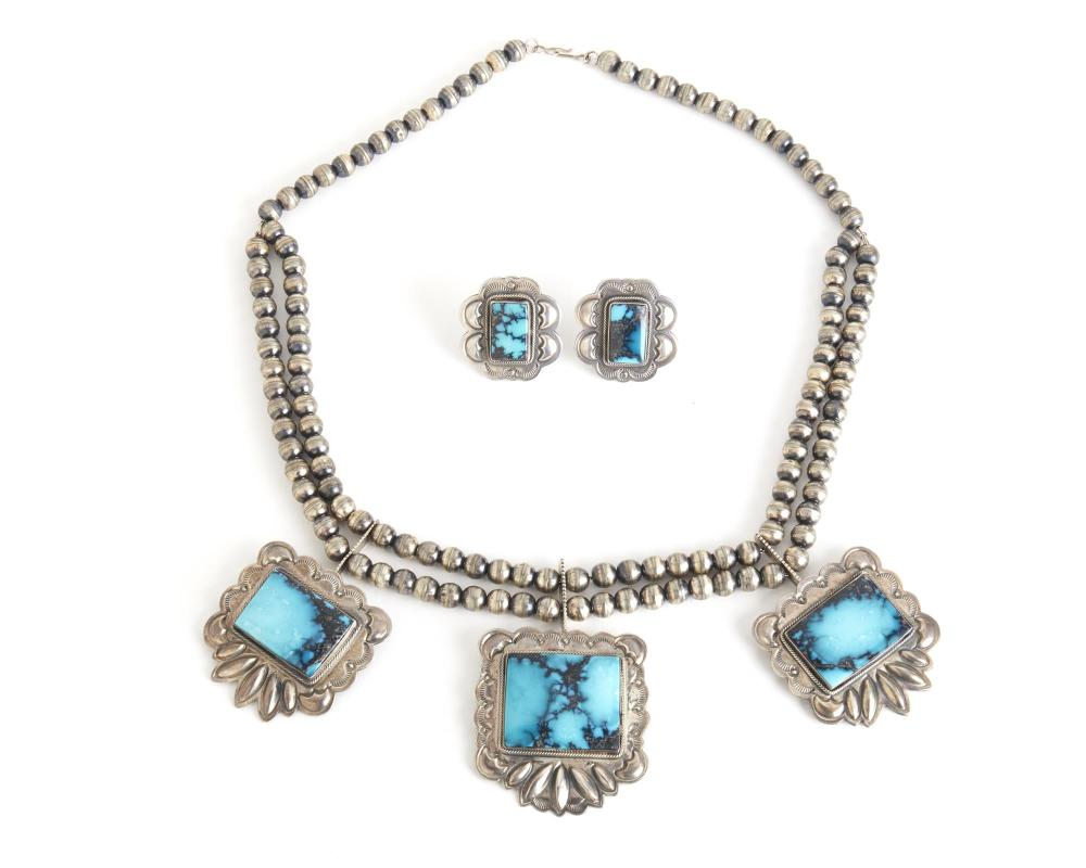 A set of Navajo turquoise and silver jewelry