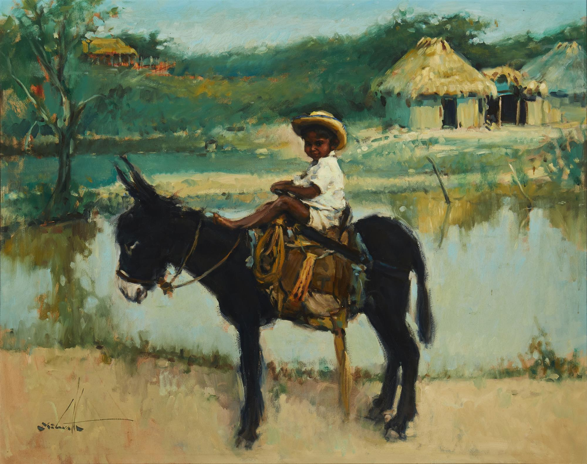 "W. Clarence McGrath, (1938-2007, Southern California/Mexico), ""Muchacho con un Burro negro"", Oil on board, 24"" H x 30"" W"