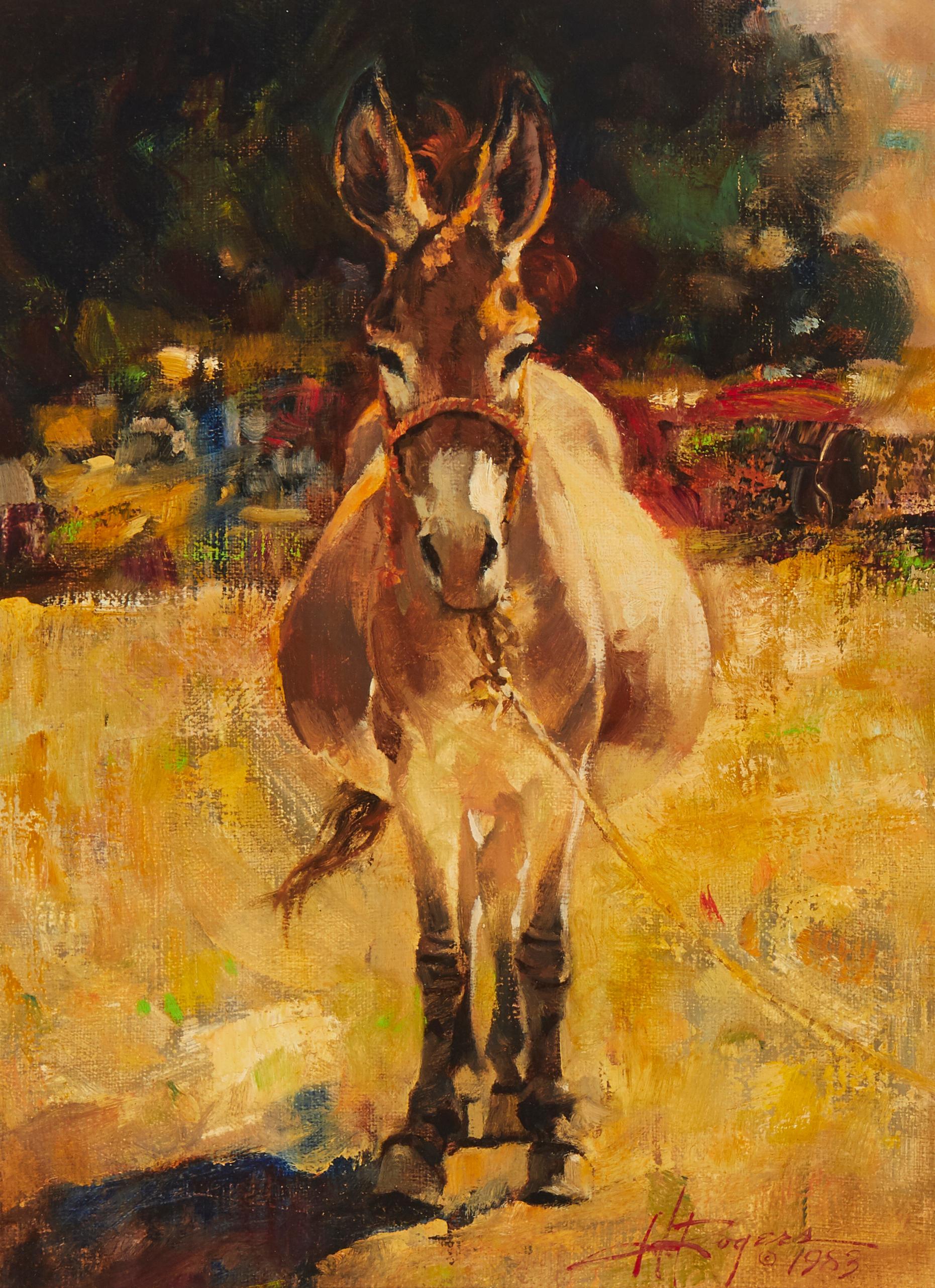 "Howard Rogers, (b.1932, Cave Creek, AZ), Portrait of a Donkey, 1983, Oil on canvas, 12"" H x 9"" W"