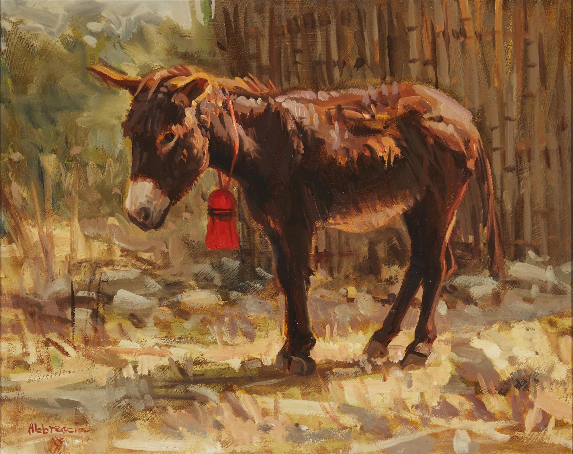 "Joe Abbrescia, (1936-2005, Kalispell, MT), ""La Roja Borla"", Oil on board, 10"" H x 12"" W"