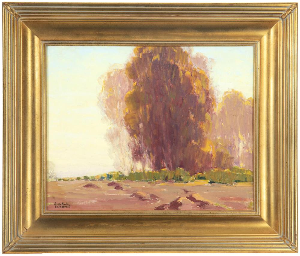 Sam Hyde Harris, (1889-1977, Alhambra, CA), Tree in a landscape, Oil on canvas laid to board, 16
