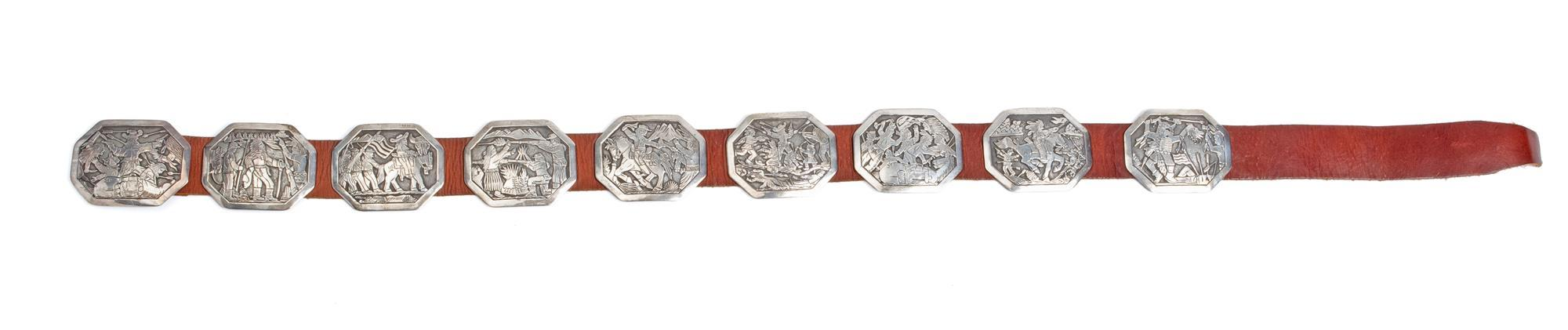 "A Navajo Floyd Becenti Jr. ""Custer's Last Stand"" silver concho belt"